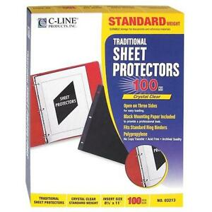 C line Traditional Standard Weight Poly Sheet Protectors Clear 8 5 X 11 Inches