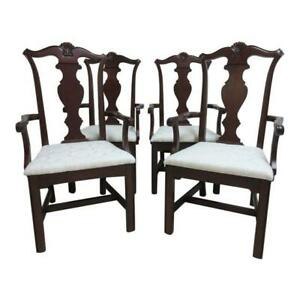 4 Pennsylvania House Cherry Shell Carved Dining Room Arm Chairs Set