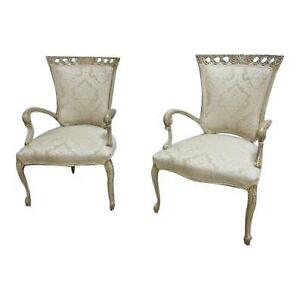 Pair Antique Hollywood Regency Fireside Lounge Club Carved Living Room Chairs