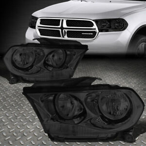 For 11 13 Dodge Durango Smoked Housing Clear Corner Headlight Replacement Lamps