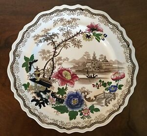 Antique Brown Historical Transferware Dinner Plate Dish 19th C Colored Flowers