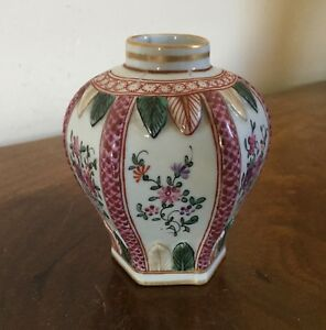 Antique French Samson Paris Porcelain Vase In 18th C Chinese Famille Rose Style