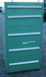 Stanley Vidmar 5 Drawer Green Industrial Storage Cabinet 59 5 X 30 X 27 5