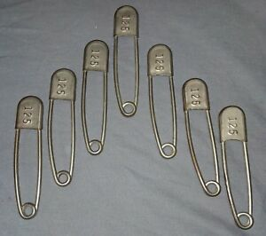 7 Vtg Industrial Large Nickel Over Brass Safety Pins Clothing Tag 125 40 18f