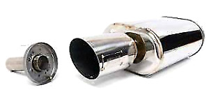 Obx Forza Tuning Sportza Sports Oval Muffler W Slant Cut Tip 2 5 Center Inlet