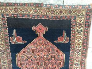 Antique Bijar Tribal Persian Rug Circa 1910 Hand Knotted Wool Nr