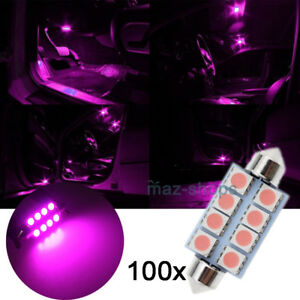 100pcs Bright Pink 41mm 8smd Festoon Led Courtesy Interior Dome Light Bulb 212 2