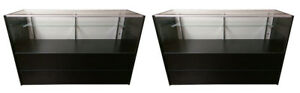 2 Two Jewelry Display Half Vision Showcase 72 Counter Black Case Knockdown New