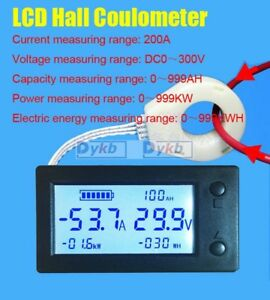 Battery Monitor Dc 300v 200a Lcd Voltage Current Power Capacity Ah Hall Sensor
