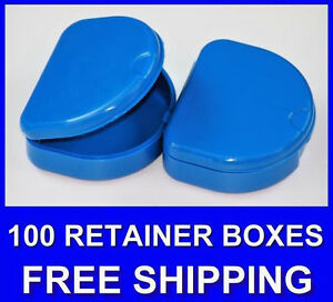 100 Dark Blue Denture Retainer Box Orthodontic Dental Case Mouth Ortho Brace