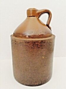 Antique Two Tone Brown Stoneware Moonshine Jug W Handle Cork Signed E