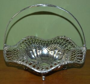 Antique Redlich Co Pierced Sterling Silver Wedding Basket