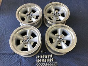Vintage Set Of 5 Spoke Torque Thrust Style Polished Lip14x7 4 3 4 Chevy Hot Rod