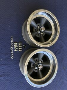 Vintage Pair15 X 8 5 Real Ansen Torque Thrust Polished Lip Chevy 5 On 4 3 4