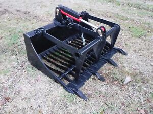 Bobcat Skid Steer Attachment 48 Rock Bucket Grapple With Teeth Free Ship