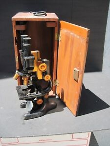 Vintage 1915 Bi Nocular Microscope Bausch And Lomb With Box