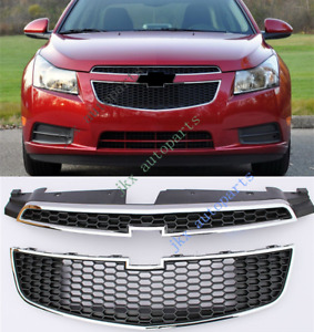 2pcs Front Grill Grille Upper lower Bumper Vent Hole For Chevrolet Cruze 2011 14