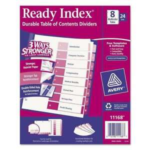 Avery 11168 Ready Index Table Of Contents Dividers 8 tab Set 24 Sets