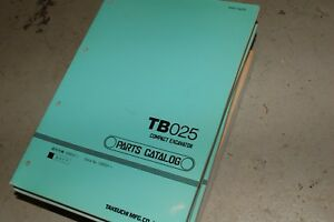 Takeuchi Tb025 Mini excavator Parts Manual Book Catalog Spare Crawler Trackhoe