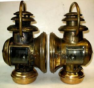 Pair Brass Bale Handle Corcoran Oil Sidelamps Off 1907 11 Buick Model T Ford