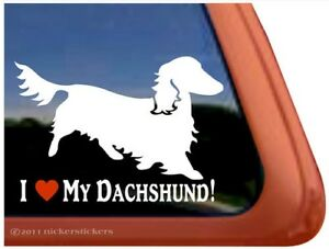 I Love My Dachshund Longhaired Dachshund Vinyl Dog Window Decal Sticker