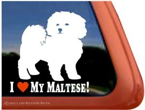 I Love My Maltese High Quality Vinyl Dog Window Decal Sticker