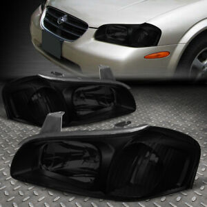 For 00 01 Nissan Maxima Smoked Housing Clear Corner Headlight Replacement Lamps