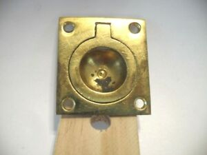 Vintage Brass Ring Pull Inset Flush Mount Type Solid Cast Square Base Used