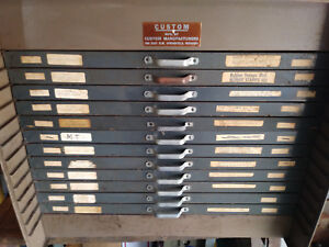 Vintage Flat File Steel W 12 Wood Drawers Stamp Cabinet By Custom Manufacturers