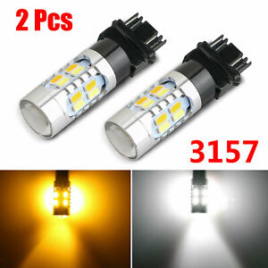 3157 Led Drl Error Free White Amber Switchback Turn Signal Parking Light Bulbs