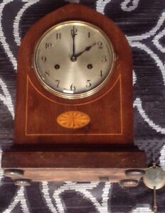 Walnut Veneered Edwardian Dome Mantle Clock For Restoration