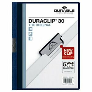Durable Vinyl Duraclip 25 Report Covers W clip Letter Clear navy dbl220328