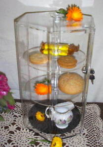 Display Case Countertop 3 Shelf Hex Hexagon Showcase Locks Spins Acrylic 18x12