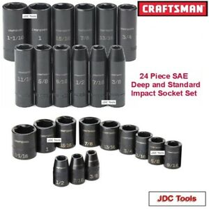 Craftsman Tools 24 Pc Sae 1 2 Drive Deep And Standard Impact Socket Set Inch