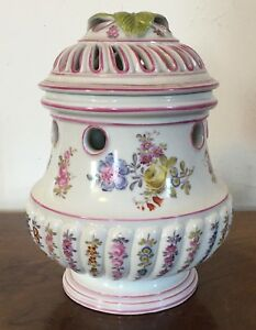 Antique Paris Porcelain Pot Pourri Vase Mennecy Dv Duc De Villeroy Potpourri Urn