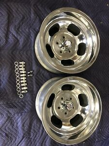 Vintage Pair 15x8 1 2 Polished Us Indy Style Mags 5 On 4 1 2 Ford Mopar Dodge