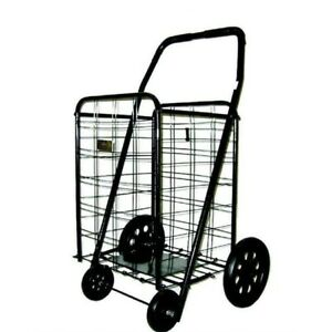 Foldable Shopping Cart Grocery 11 Pound Extra Large Heavy Duty Metal Steel Black