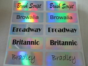1600 Hologram Silver Personalized Waterproof Name Sticker Customized Label Decal