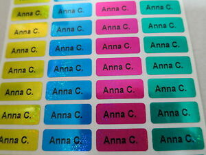 2400 Four Laser Colors Personalized Waterproof Name Stickers 0 9 X 2 2 Cm Labels