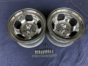 Vintage Pair Polished 15x8 5 Us Iindy Mag Style Mags 5 5 1 2 Ford Pickup Ratrod