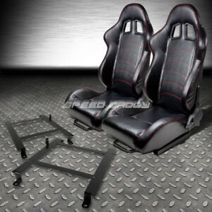 2 Pvc Leather Red Stitches Racing Seats low Mount Bracket For 97 04 Corvette C5