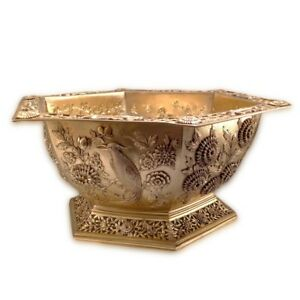Antique English Silver Gilt Bowl Hexagonal Oriental Style London 1910