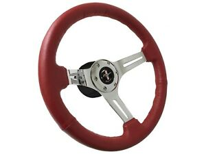 1968 1978 Ford Mustang Red Leather Steering Wheel Kit Running Pony Emblem