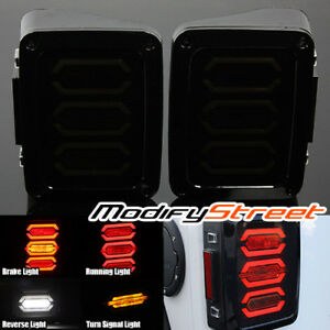 For 07 16 Jeep Wrangler Jk Rubicon Smoked Lens Led Tail Lights Rear Brake Lamps
