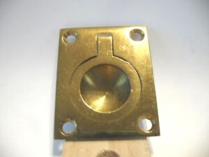Vtg Brass Ring Finger Pull Flush Mount Inset Type Solid Cast Rectangular Base