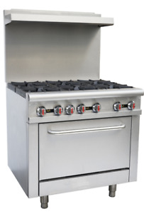 Hakka Heavy Duty Commercial 36 Gas 6 Burners Range With Oven