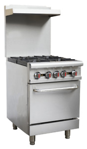 Hakka Heavy Duty Commercial 24 Gas 4 Burners Range With Oven