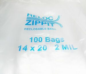Large Ziplock Bags 14 X 20 Clear 2mil 100pcs Reclosable Big Size Bags Reloc
