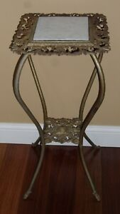 Antique Victorian Cast Iron Brass Gilt Filigree 2 Tier Plant Stand