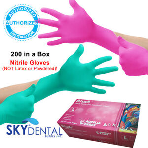 200 box Topquality Nitrile Latex Free Hypoallergenic Medical Gloves Pink Green